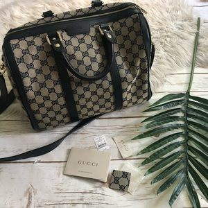 NWT Gucci logo print satchel bag